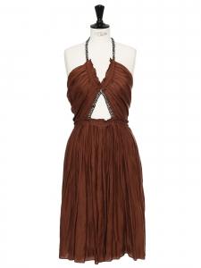 CHLOE Robe en soie et coton chocolat brodée de cristaux Swarovski Prix boutique 5000€ Taille 38