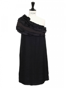 JAY AHR Black silk ruffled one shoulder cocktail dress Retail price €1500 Size 36