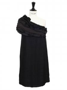 JAY AHR Robe de cocktail asymétrique à volants en soie noire Px boutique 1500€ Taille 36