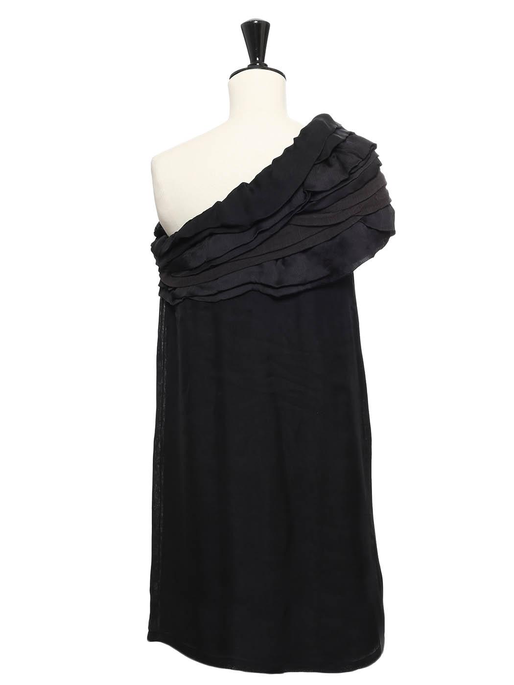 4aa1de705d0 ... JAY AHR Robe de cocktail asymétrique à volants en soie noire Px  boutique 1500€ Taille ...