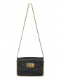 Small SALLY black grained leather cross body bag with gold chain Retail price €1320