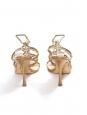 JIMMY CHOO Sandales bijoux à talon en cuir métallisé et studs dorés Px boutique 850€ Taille 37