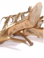 JIMMY CHOO Gold metallic leather jewel embellished heel sandals with ankle strap Retail price €850 Size 37