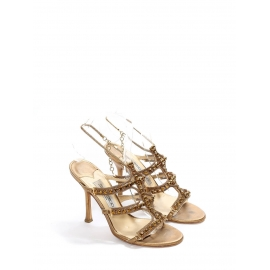 Gold metallic leather jewel embellished heel sandals with ankle strap Retail price €850 Size 37