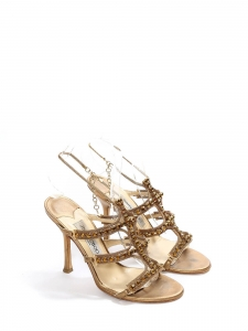 e0060cd6b78 JIMMY CHOO Gold metallic leather jewel embellished heel sandals with ankle  strap Retail price €850