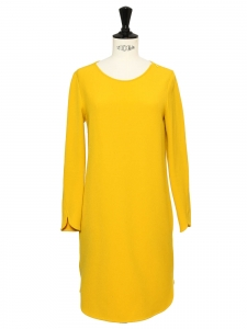 Sunny yellow stretch jersey midi dress with long sleeves Size 36