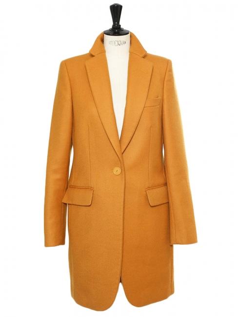 Saffron yellow camel wool mid-length coat Retail price €1340 Size 38