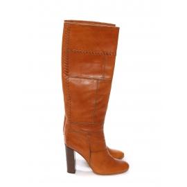 Bottes hautes à talon bois en patchwork de cuir camel tressé Prix boutique 1000€ Taille 36,5