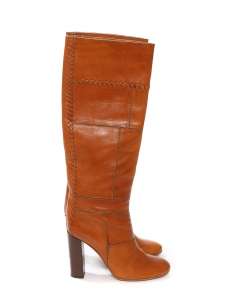 CHLOE Camel patchwork leather wooden heel knee high boots Retail price €1000 Size 36.5