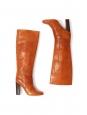 CHLOE Bottes hautes à talon bois en patchwork de cuir camel tressé Prix boutique 1000€ Taille 36,5