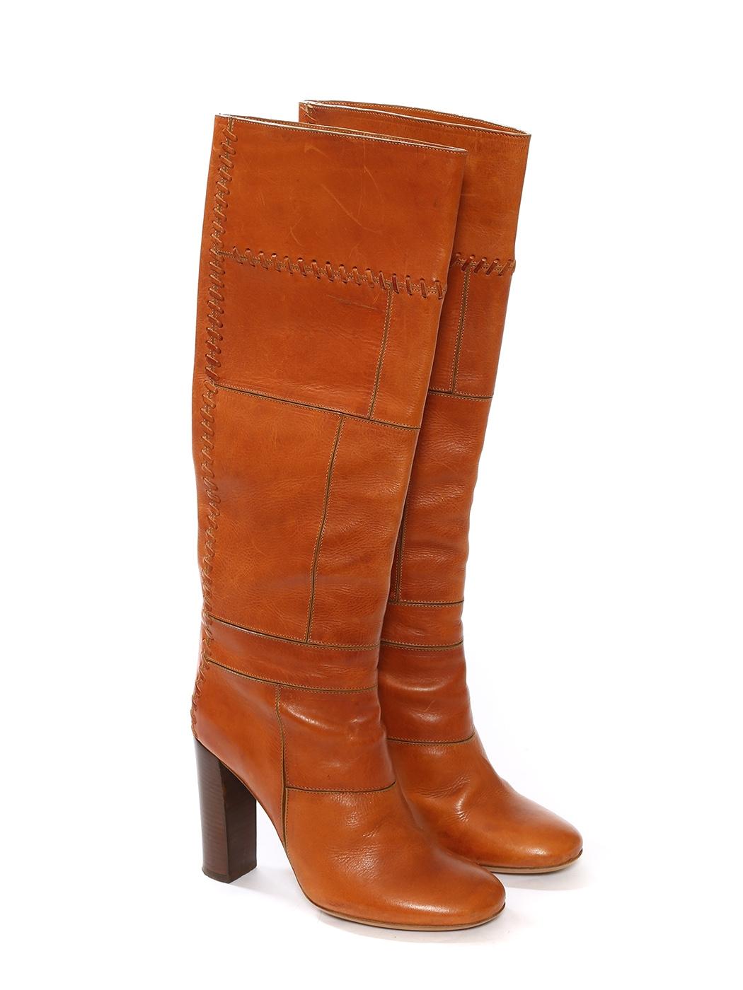 Louise Paris Chloe Camel Patchwork Leather Wooden Heel
