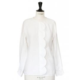 Blouse chemise Scalloped blanche en lin et soie Px boutique 950€ Taille 36