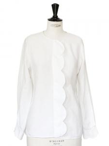White transparent silk and linen blouse shirt Retail price around €950 Size 36