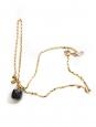 WOUTERS & HENDRIX Collier fine chaîne dorée et pendentif perle de Quartz noir Prix boutique 210€