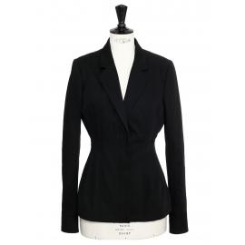 Veste blazer cintrée et ajustée en crêpe noir Prix boutique 900€ Taille 38