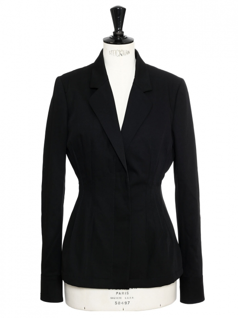 Black crepe cinched blazer jacket Retail price €900 SIze 38