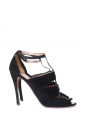 Black suede and snakeskin T-bar ankle strap sandals Retail price €1100 Size 40