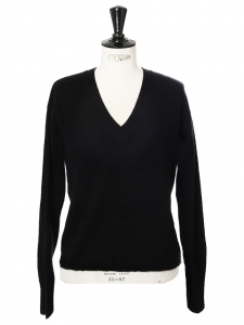 FTC CASHMERE V neck thick high quality black cashmere sweater Retail price €350 Size 36