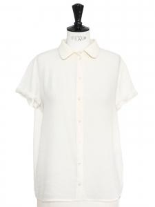Top chemise manches courtes ivoire crème NEUF Prix boutique 150€ Taille 36