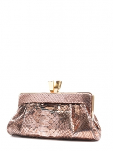 Gold and dust pink snakeskin leather evening clutch Retail price €950