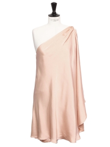 Soft pink satin asymmetrical cocktail dress Retail price €420 Size 38
