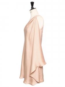 HALSTON HERITAGE Robe de cocktail courte asymétrique en satin rose Prix boutique 420€ Taille 38