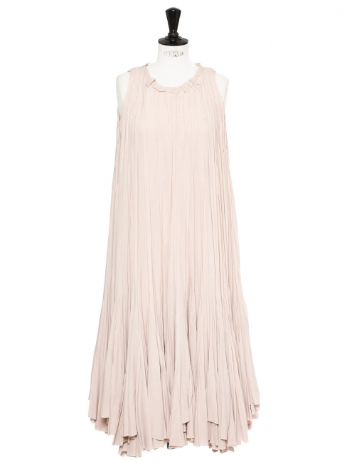 Pale pink pleated smock long dress Retail price €3500 Size 34/36