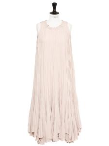 Robe longue plissée en soie rose pâle Px boutique 3500€ NEUVE Taille 34/36