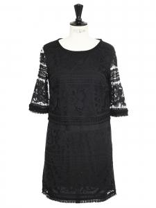 SEA NY Robe manches courtes en dentelle noire Px boutique $445 Taille 36