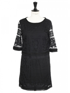 SEA NY Short sleeves black lace mini dress Retail price $445 Size 36