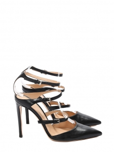 CAREY Black leather strappy triple buckled pumps Retail price €950 Size 38