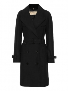 HERRINGBONE Wool and cashmere black mid-length trench coat Retail price €1300 Size 38