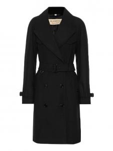 BURBERRY Trench manteau HERRINGBONE mi-long en laine et cachemire noir Prix boutique 1300€ Taille 38