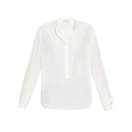 EVA ivory white silk crepe de chine long sleeve blouse Retail price €525 Size 36