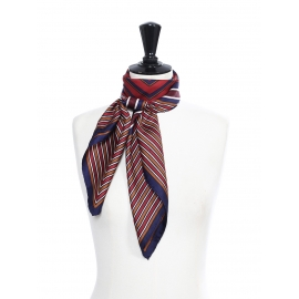 Burgundy, navy and beige graphic print silk twill square scarf Retail price €350 Size 90 x 90