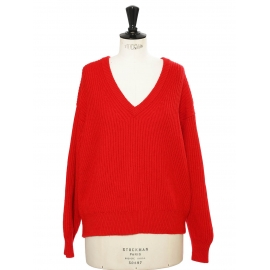 Bright red ribbed wool oversized V neck sweater Retail price €363 Size S