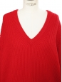 IRO PARIS Bright red ribbed wool oversized V neck sweater Retail price €363 Size S
