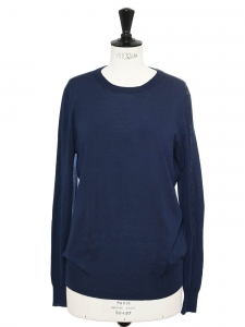 Navy blue fine wool round neck sweater Retail price $800 Size 38