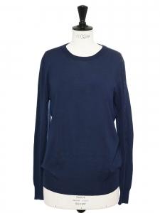YVES SAINT LAURENT Pull col rond en laine fine bleu marine Prix boutique $800 Taille 38