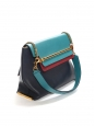 CHLOE CLARE Medium navy blue, duck blue and burgundy red leather shoulder bag Retail price €2250