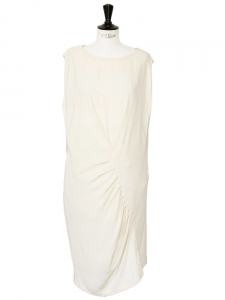Ivory white silk crepe and lace sleeveless dress Retail price €950 Size 38