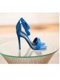 Sandales à talon et bride cheville en suède bleu royal NEUVES Px boutique 610€ Taille 38,5
