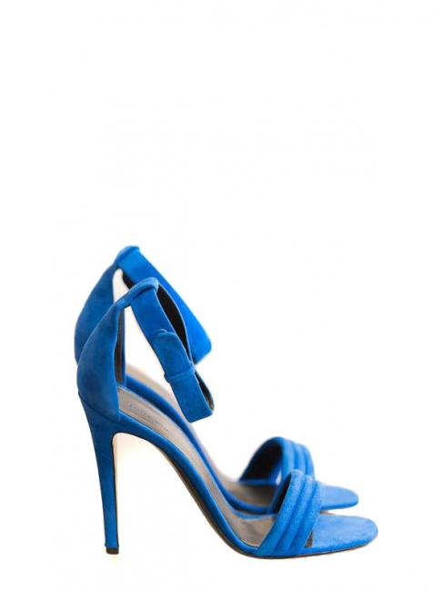 High heel royal blue suede ankle strap sandals Retail price €610 Size 38.5