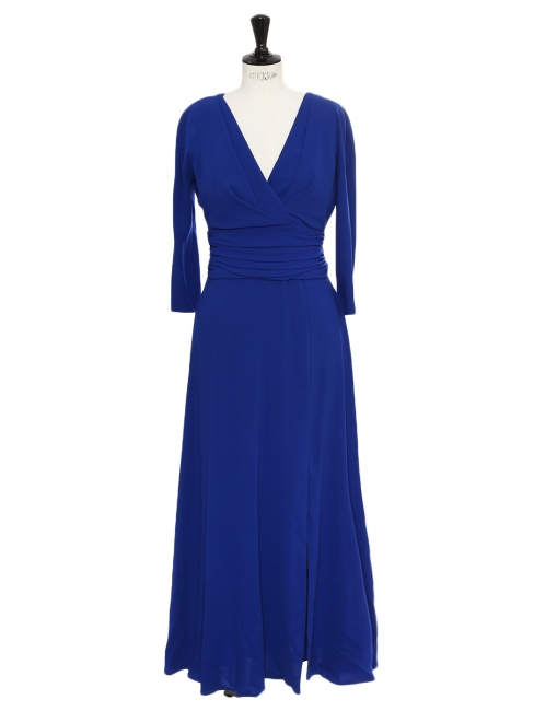 Midi length cinched short sleeves V neckline evening dress Retail price €800 Size 40