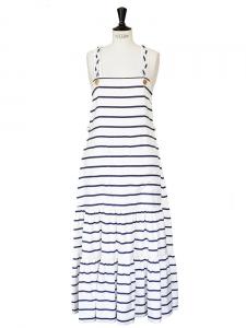 Robe longue marinière en soie rayée bleu marine et blanche NEUVE Px boutique 1500€ Taille 36