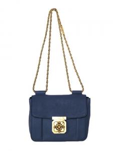 CHLOE Sac ELSIE small en cuir bleu marine et chaîne dorée Px boutique 1000€