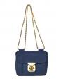 Sac ELSIE small en cuir bleu marine et chaîne dorée Px boutique 1000€