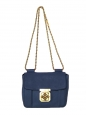 Small navy blue leather ELSIE cross body bag with gold chain Retail price €1000