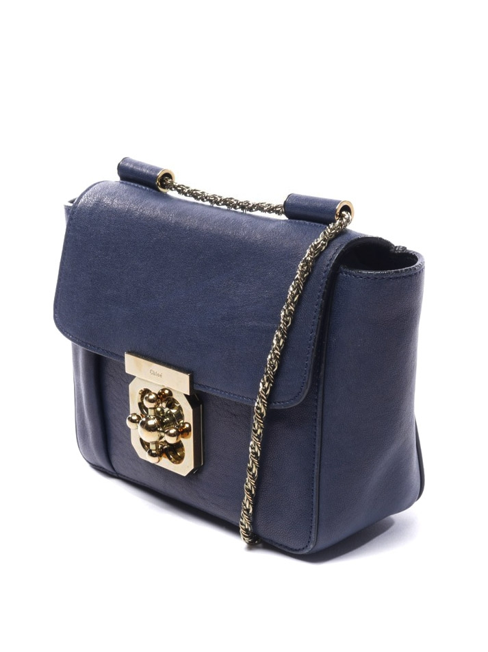 c4be9ec1b9656 ... CHLOE Small navy blue leather ELSIE cross body bag with gold chain  Retail price €1000 ...