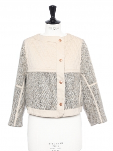 Beige pink and light brown wool blend tweed jacket Retail price €430